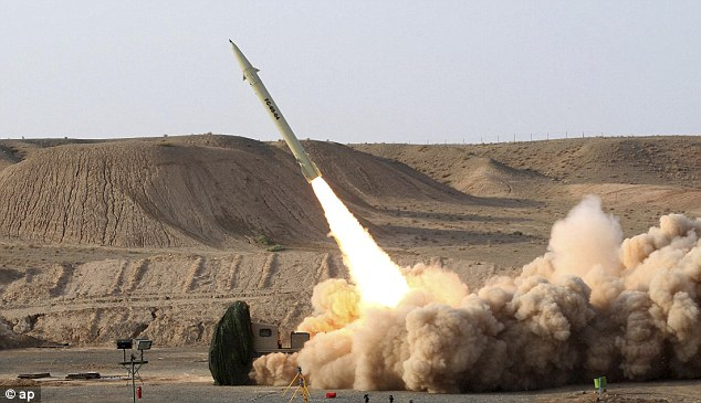 Threat: The Iranian Defense Ministry, claims to show the launch of the Fateh-110 short-range surface-to-surface missile which has a half-ton warhead