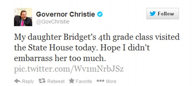 Report card: Christie tweeted the video as well as a photo of him before the students while sharing his hopes that he didn't embarrass his daughter, Bridget