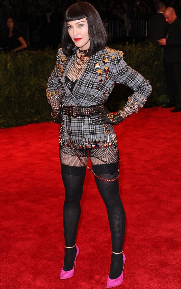 She just cannot help herself: Madonna forgot to wear her trousers for the red carpet of the 2013 Met Ball in New York on Monday night