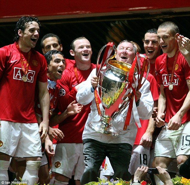 Conquering Europe: Fergie lifts the Champions League trophy in Moscow in 2008