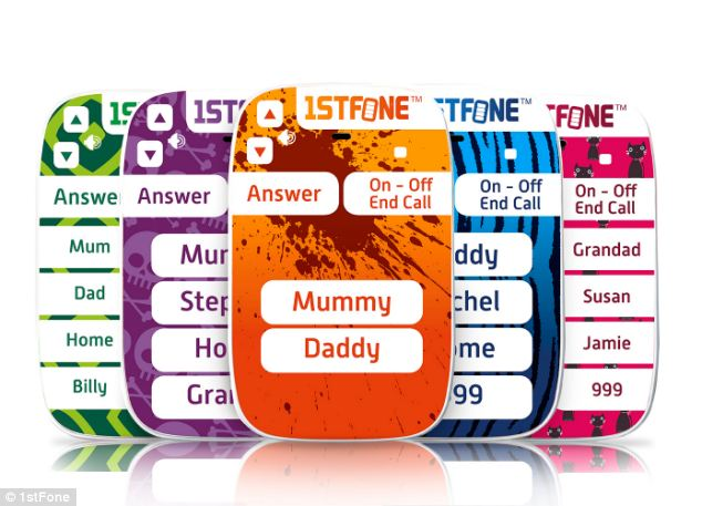 The 1stFone can be customised. Options including Orange Splat, pictured front, Skulls, Leopard and more.