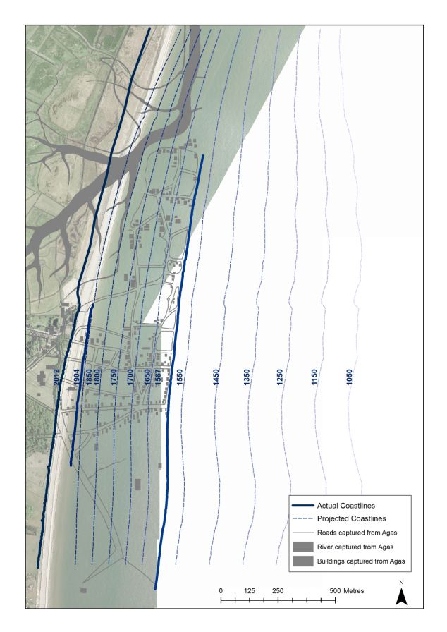 The changing coastline of Dunwich 1050-2012
