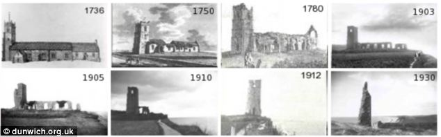 Some of Dunwich remains on land: Images of All Saints Church over the decades as it gradually erodescourtesy of the J. C. Docwra Collection and the EA Shoreline Management Group