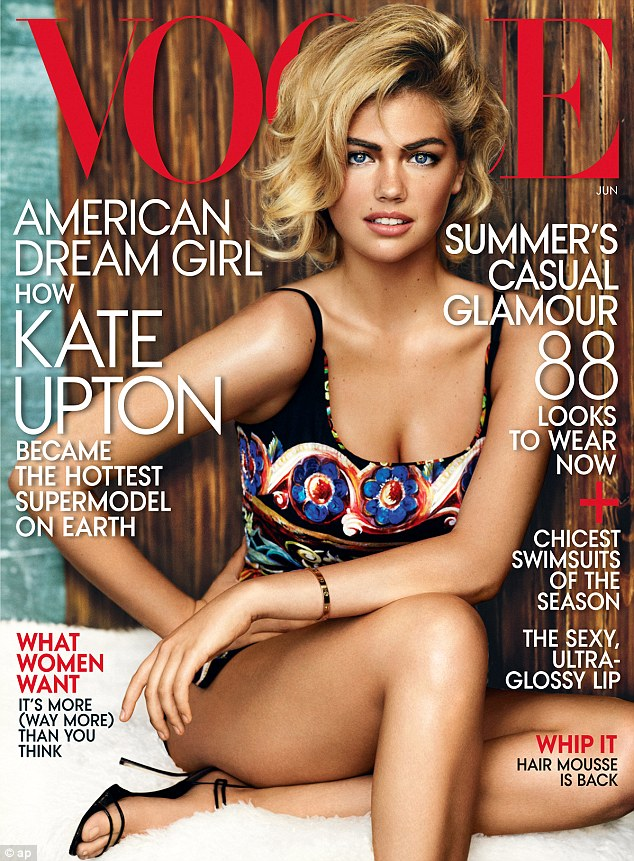 She's officially made it! Swimwear model Kate Upton lands her first US Vogue cover as she makes the transition from beachwear to catwalk