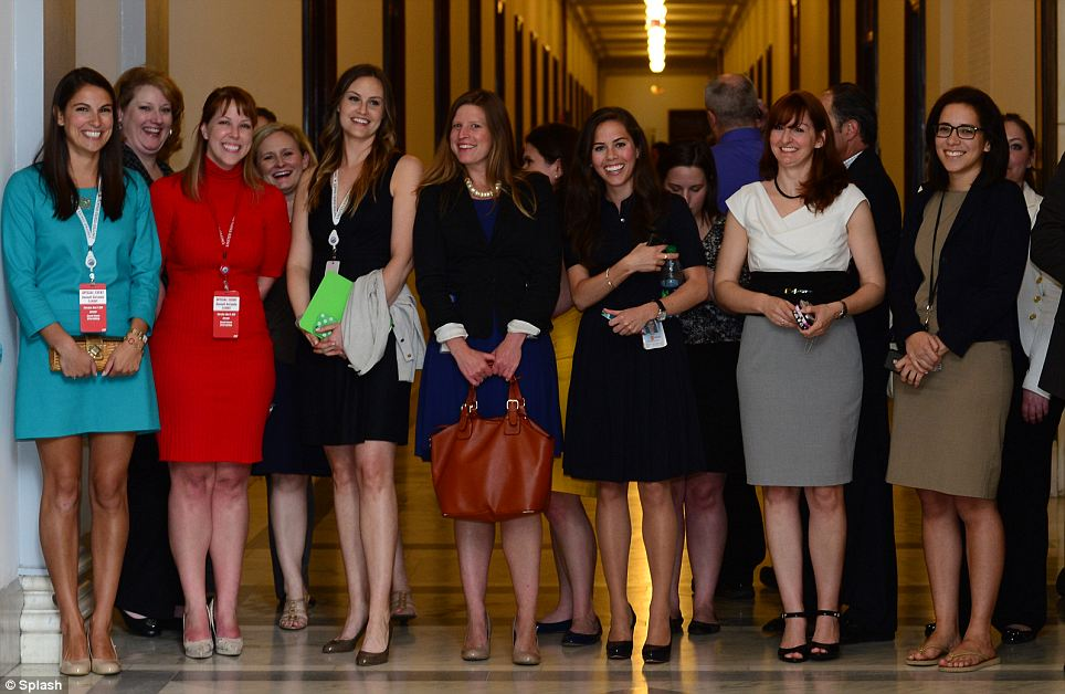 Anticipation: Female staffers excitedly gathered on Capitol Hill for a glimpse of the British prince