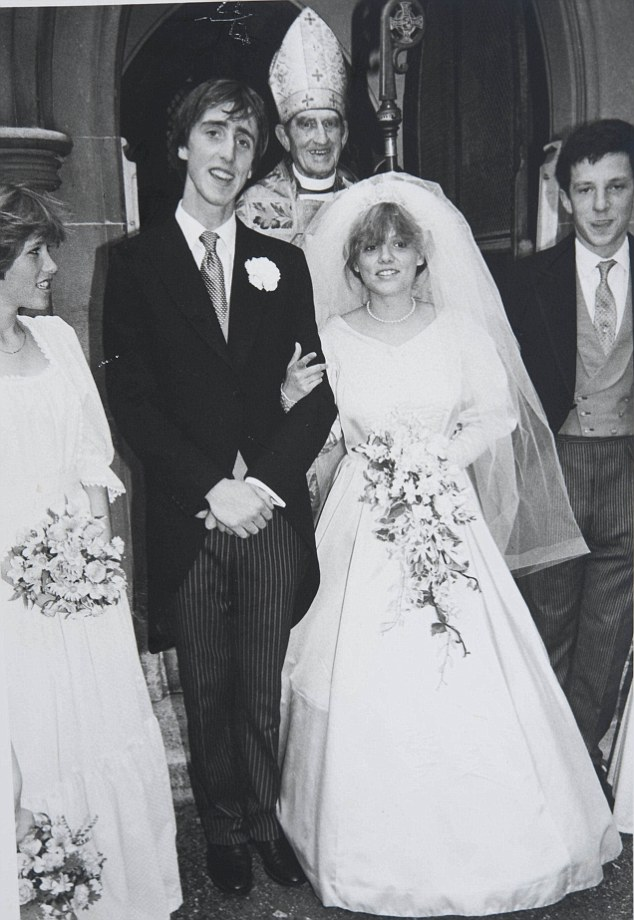 Olivia Fane pictured on her wedding day to first husband, the writer and historian Adam Nicolson, with whom she had an open marriage