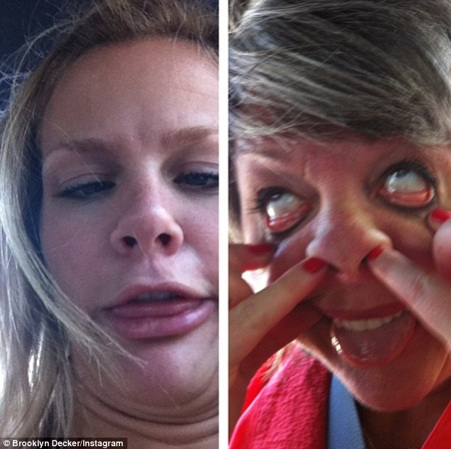 Pulling faces: 'She got it from her momma!' Brooklyn Decker captioned this snap of herself and her mother