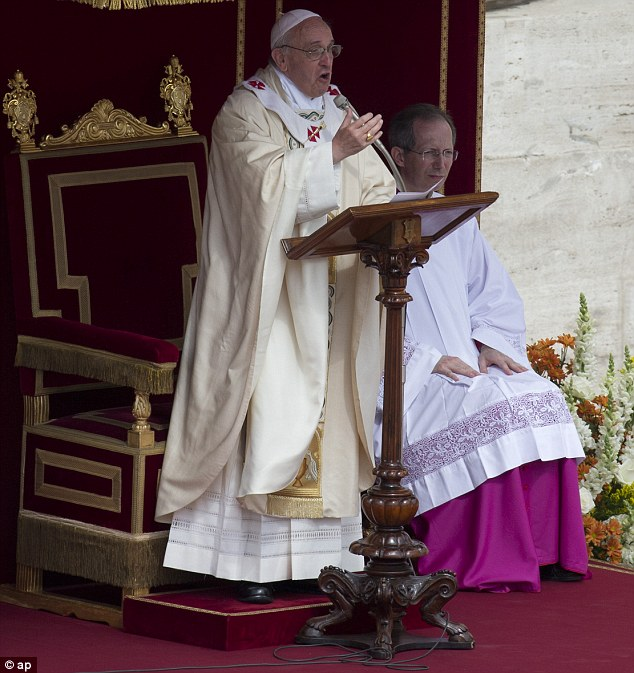 Pope Francis delivers his speech during a canonization ceremony giving the Catholic Church hundreds of new saints in St. Peter's Square at the Vatican