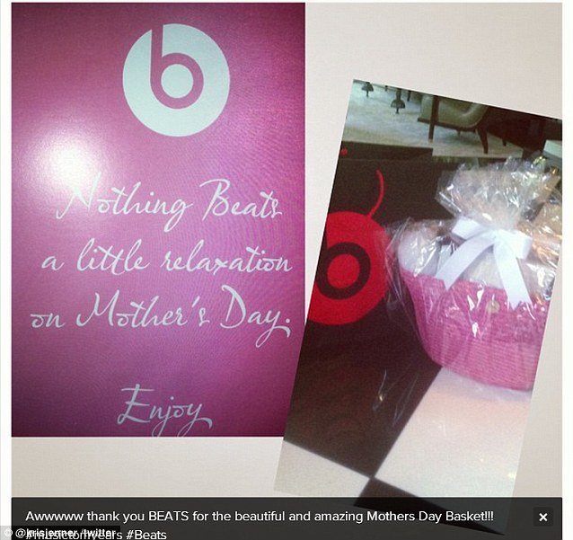 'Music to my ears': Kris was given a Mother's Day basket from the people at Beats headphones