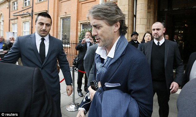 Final farewell: Roberto Mancini, pictured in London today, was sacked after ending the season empty-handed