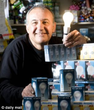 Enterprising: Lighting shop owner Kerry Nicholau, from Twickenham, stockpiled 3000 incandescent bulbs after 75 watt bulbs were phased out in 2011