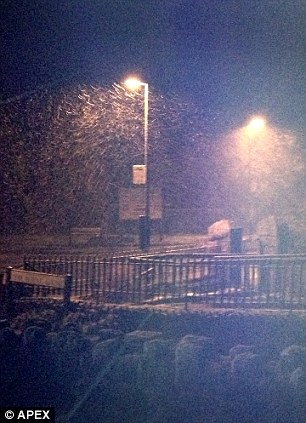 Snow falling in Princetown, Devon