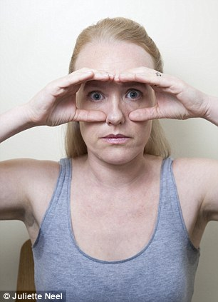 Owl: Make two 'C' shapes with the fingers round the eyes, then relax the forehead and open the eyes wide. Repeat three times then hold for ten seconds.