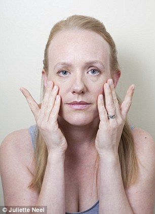 Relaxation: Gently tap fingertips all over the face, then rub palms until they become warm and cup them over closed eyes. Take deep breaths and relax all facial muscles. Take a deep breath to finish