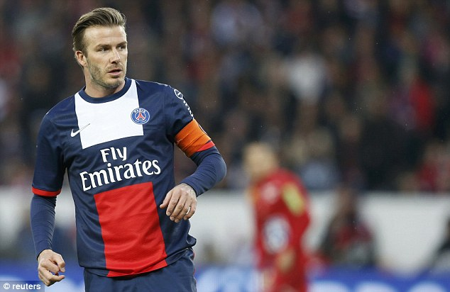 Popular: Beckham's name elicited a huge cheer from the stadium when it was announced before kick off