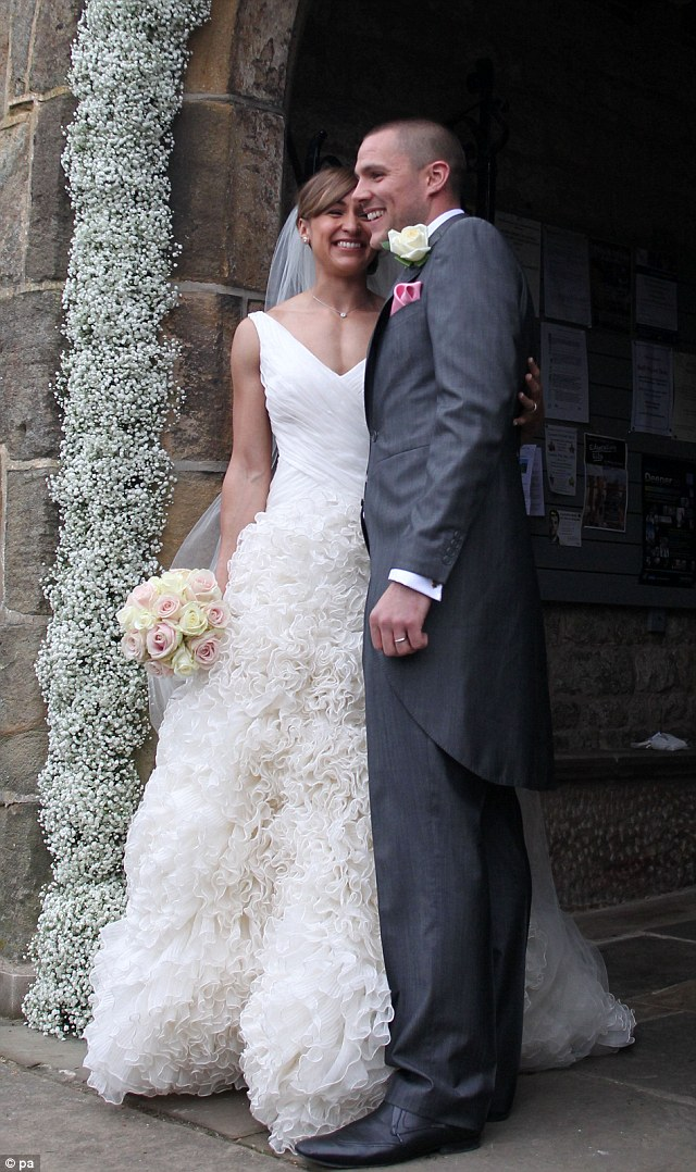 Absolutely stunning: Jessica's dress had a simple bodice with a long, ruffled skirt