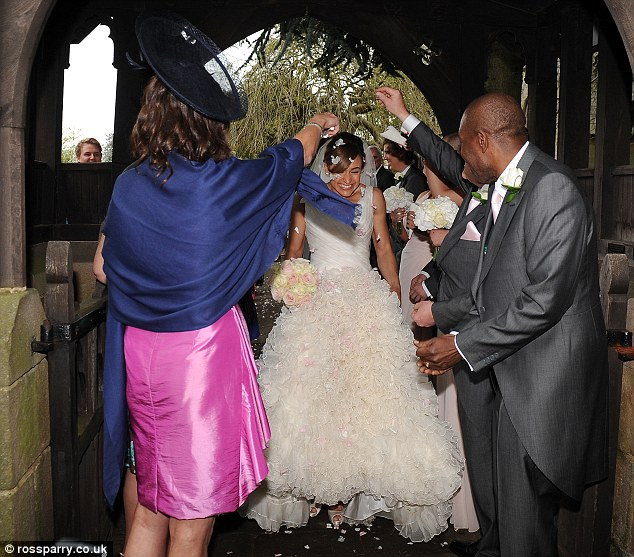 Family fun: Jessica was joined by her nearest and dearest as she tied the knot with her childhood sweetheart