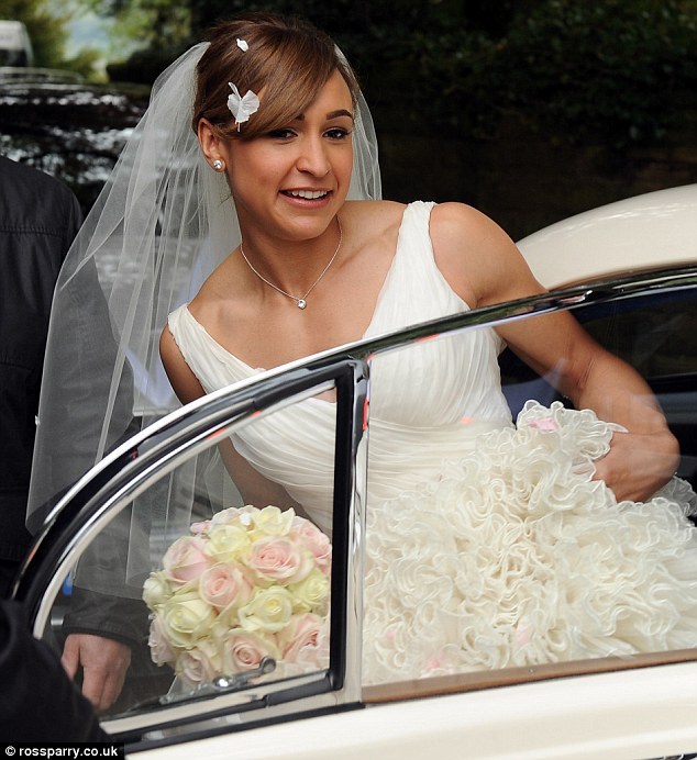 Radiant: The bride looked the picture of elegance and grace as she got into her car