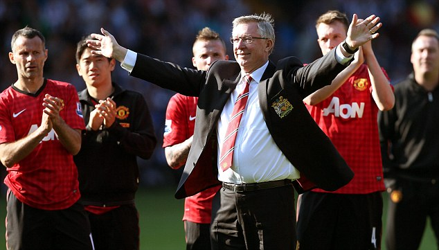 I'm off: Sir Alex Ferguson absorbs the standing ovation from United's fans at the final whistle
