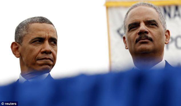 Barack Obama (L) and Eric Holder (R) are long-time friends, but the pressure to cut loose his attorney general is mounting on the president - from both sides of the political aisle
