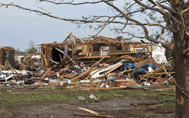 A destroyed house remains after a huge tornado struck Moore, Oklahoma, near Oklahoma City