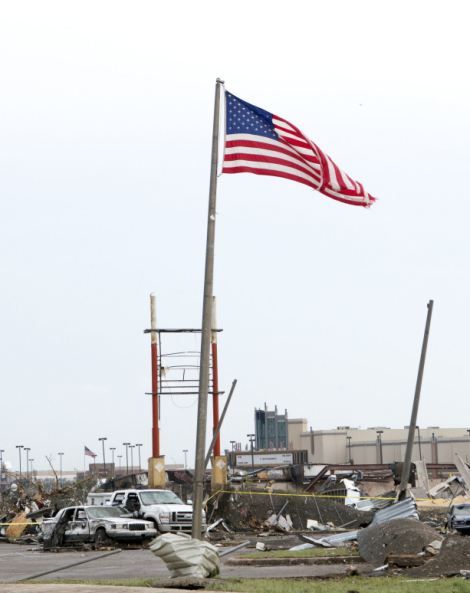 American Flag sways in the wind
