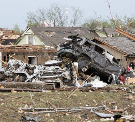 Damage left after the tornado hit