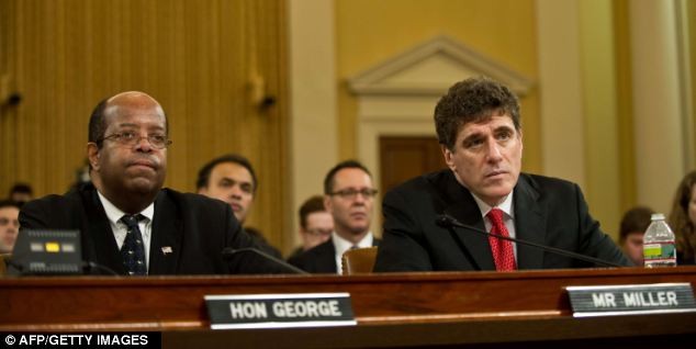 J. Russell George (L) testified on May 17 alongside the outgoing acting IRS Commissioner Steve Miller before the House Ways and Means committee