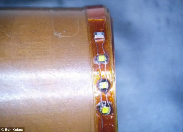 Inside the ring: Copper conducting wires and the LEDs are clearly visible as the ring was under construction