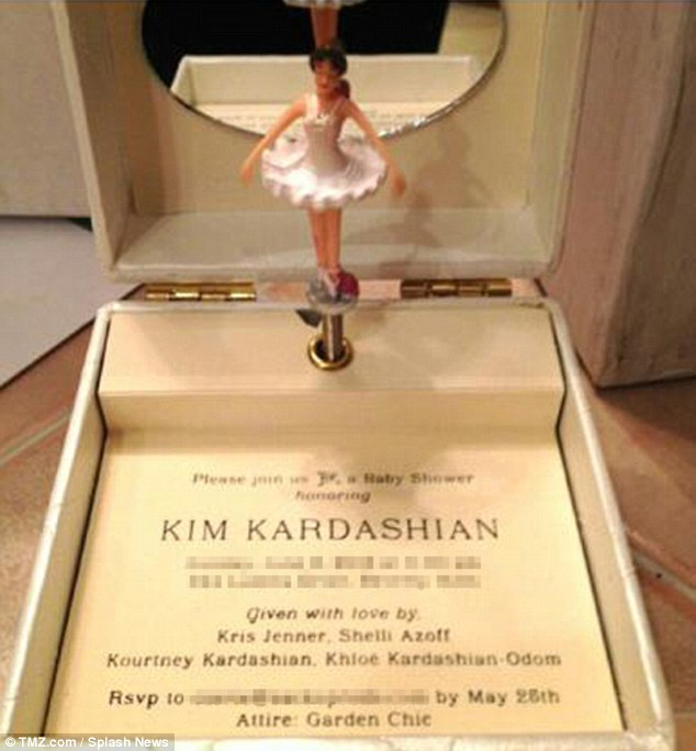 You're invited: Kim's baby shower invite was revealed this week