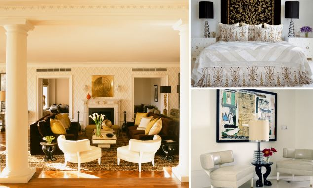 The Look: Designer dentist's waiting room The Lowdown: The opulent living room is framed by huge pillars. The bedroom is dominated by a black tapestry embroidered with gold thread. Verdict: Bootiful, and marble floors are ideal for stilettos