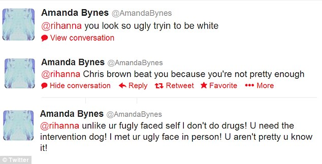 Twitter war: Amanda posted numerous offensive comments about the singer's appearance, race and being a victim of domestic violence before deleting them