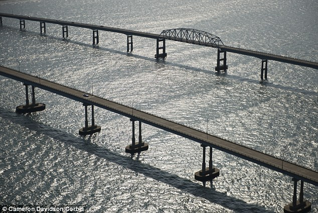 Fear: The bridge, pictured, was rated by Travel & Leisure Magazine as the ninth scariest bridge in the world for the panic it instills in Maryland residents
