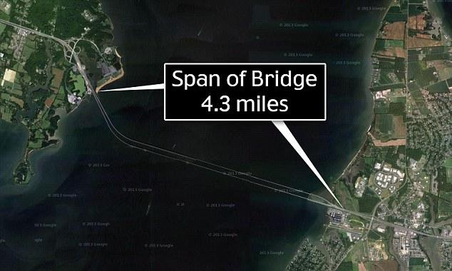 Long stretch: The massive bridge spans 4.3 miles