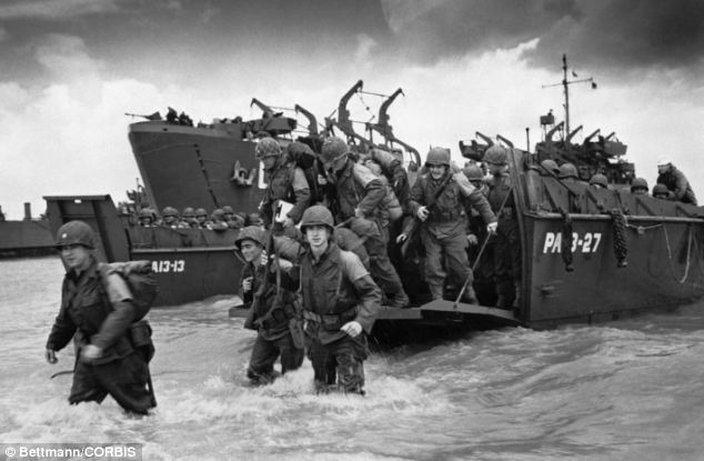 American soldiers seen here (who are not related to the book's content) disembarking from Coast Guard landing craft at the shores of Normandy.