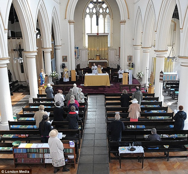 Dwindling flock: St Mary's Cable Street in East London was built to hold 1,000 people. Today, the congregation numbers around 20