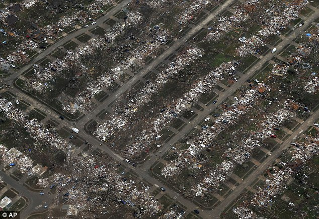 Battleship: Scientists say more disasters like what happened in Moore, Oklahoma, pictured, are likely because of urban sprawl