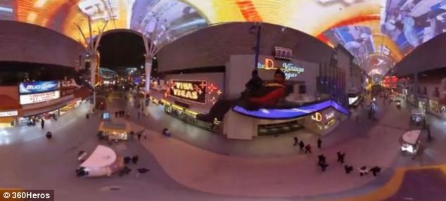 And this image shows the 360Heros mount carrying GoPro cameras being used to film one of the project's team member riding the zip line in Fremont Street, Las Vegas