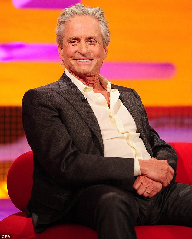 Opening up: Michael Douglas, pictured on the Graham Norton Show last week, has spoken about the causes of his throat cancer