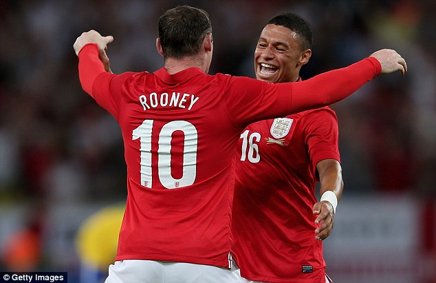 Nice hit: Rooney also played a part in Alex Oxlade-Chamberlain's stunning strike - could they now be team-mates at Arsenal?