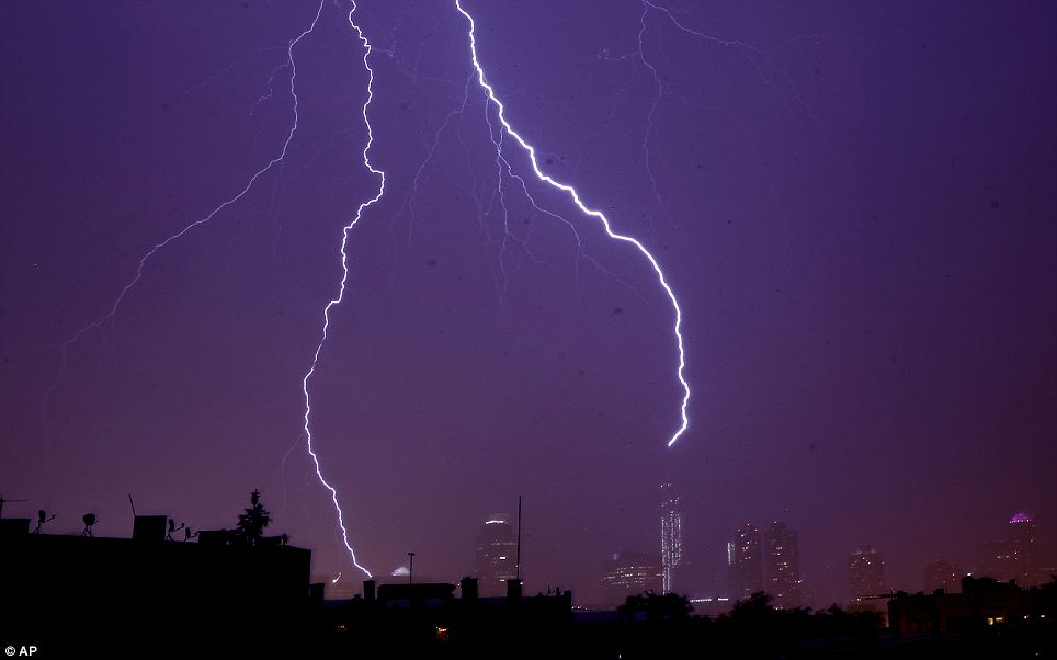 Over York Thunderstorm New City