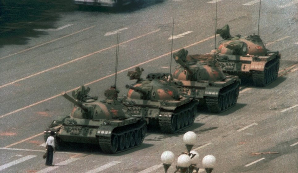 Tank man: the world famous image of a protestors standing in front of oncoming Chinese tanks . An internet mock up replacing the tanks with plastic ducks was circulating online.