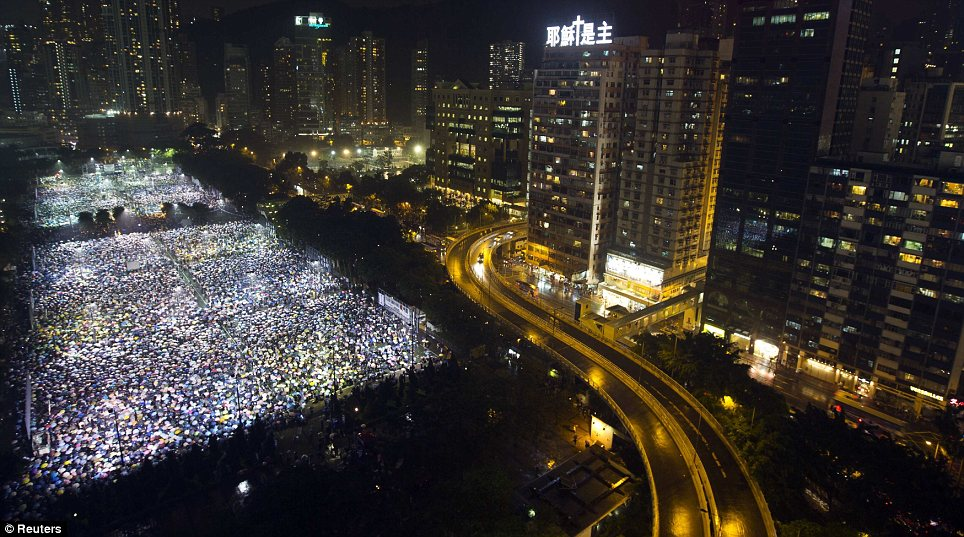 Freedom: The commemorations have only been allowed to take place in Hong Kong amidst heightened security in mainland China