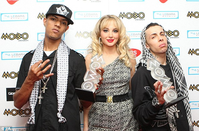 Fame: Tulisa with fellow N-Dubz stars Fazer (left) and her cousin Dappy (right) during the 2009 MOBO awards at the SECC in Glasgow