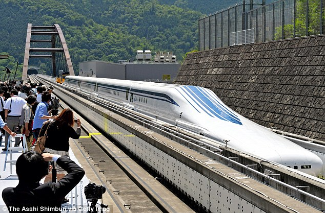 Japan's 'floating' trains of the future, designed to travel at speeds of 311mph, have undergone their first track tests