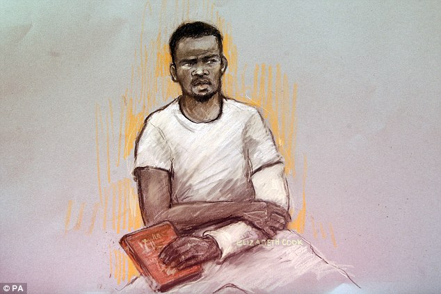'I'm a soldier': Michael Adebolajo (pictured on Monday at Westminster Magistrates' Court), 28, of Romford, Essex, interrupted proceedings at the Old Bailey on several occasions during a bail hearing