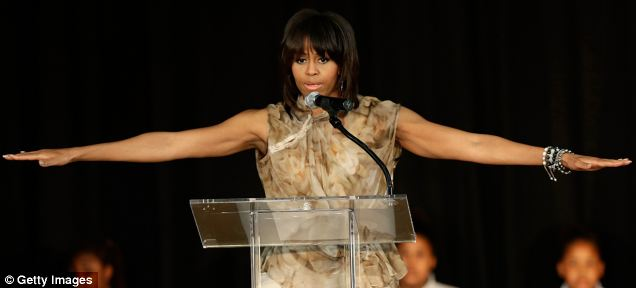 Mrs. Obama brought her speaking talents - and her considerable wingspan - to stump for Democratic candidates, but got her feathers ruffled by the lesbian avenger