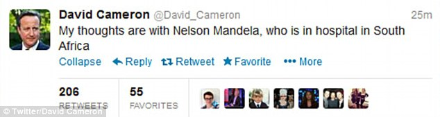 Well-wishers: Britain's prime minister was among those sending messages of support to Mr Mandela today