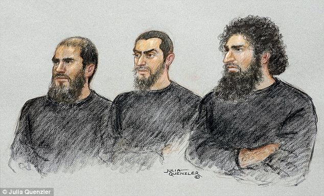 A court drawing from an earlier hearing shows, from left Jewel Uddin, Mohammed Hasseen, and Omar Khan. Their targets were members of the public attending an organised, lawful and policed rally in the town centre