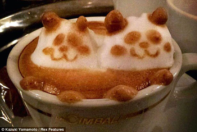 Perky pandas: 82,000 people follow Mr Yamamato's coffee creations on Twitter